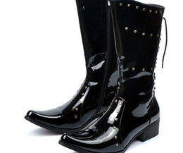 Wholesale Thermal Points - High fashion leather boots barrel pointed rivet retro British club Martin boots cowboy cashmere thermal flow 38cm high 4.5 eu 38 to 44 M115