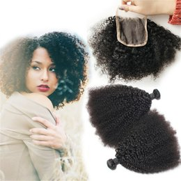 Wholesale Kinky Permed Lace Closure - Free Part Kinky Curly Lace Closure With Hair Bundles 4Pcs Lot 9A Afro Kinky Curly Hair Weaves With Lace Closure For Black Woman