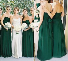 Wholesale Emerald Green Sashes - 2016 New Emerald Green Chiffon Sweetheart A-line Floor Length Bridesmaid Dresses Long Country Ruched Sash Maid Of Honor Gowns