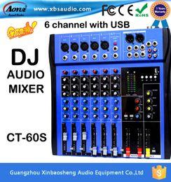 Wholesale Dj Digital Mixer - 2016 Hot Sales high power Professional digital mixer audio with 6 Channels USB dj mixer CT-60S