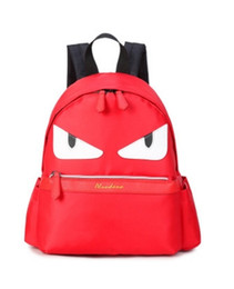 Wholesale Little Korean Girls - Wholesale- Famous Brand Demon Eyes Character Backpack New Korean Fashion Nylon Little Monster Schoolbag For Teenager Istitute Wind Backpack