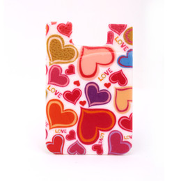 Wholesale Mobile Phone Pouches Cartoon - Heart Cartoon full color printing Custom logo cell phone smart phone wallet pouch silicone mobile phone card holder with pocket for iphone