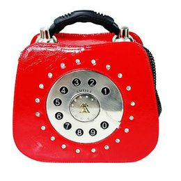 Wholesale Vintage Red Telephone - Amliya 2016 autumn new authentic women handbags unique novelty vintage fashion telephone shape shoulder bag Messenger bag