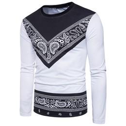 abbigliamento da stampa bandana Sconti Hip Hop Bandana T Shirt per uomo Paisley Stampa T-Shirt manica lunga Marca Tees Shirt Abbigliamento in cotone di alta qualità All'ingrosso 2017 Nuovo arrivo