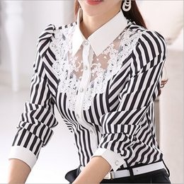 Wholesale Chiffon Lapel - free shipping New Long sleeve Korean occupation Slim lace blouses striped shirt temperament OL shirts Lapel Neck Womens Tops Fashion Shirt