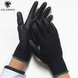 Wholesale Gloves Anti Cut - Work Gloves black Palm Coated working gloves Workplace Safety Supplies Safety Gloves PU518 5pair lot cut-resistant anti-static
