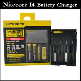 Lcd i4 online-100% auténtico Nitecore I4 Digicharger Pantalla LCD Cargador de batería Universal Nitecore Cargador inteligente 4 en 1 cargador VS nitecore D4