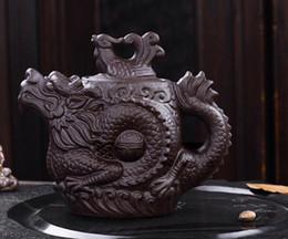 Bule de chá de dragão e phoenix bule de chá capacidade bule de chá de argila roxa chaleira kung fu bule de