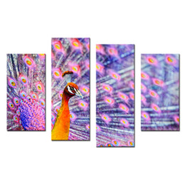 Wholesale Art Decor Peacock - Colorful Purple Peacock 4 Panels Animal Landscape Giclee Canvas Prints on Canvas Wall Art Modern Pictures Artwork for Home Decor Frameless