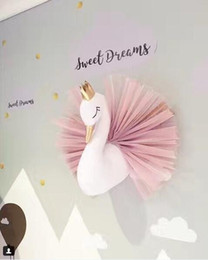 Wholesale stuff for girls - Cute Swan Wall Art Stuffed Animal Toys Kids Girls Swan Dolls with Crown Animal Head Wall Hanging Mount 3d Wall Decor for Children Room Gifts