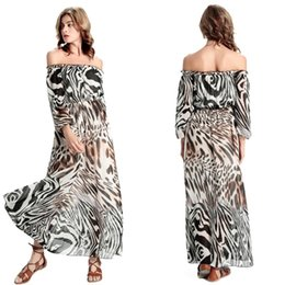1c3c251aab2 2016 New Fashion Off the Shoulder Long Sleeves Chiffon Long Bohemian Dress  Black and White Stripes Women's Summer Casual Party Dress FS0268