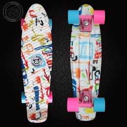 Wholesale Penny Board Long - 2016 Good Quality Hydrographics Transfer Printing Pattern Mini Cruiser Skateboard 22 inchs Long Retro Fish shaped Penny style Board