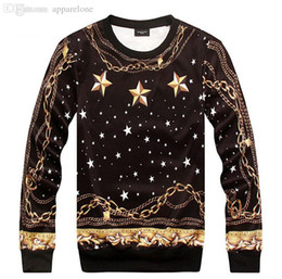 Wholesale Men S Fashion Gold Chain - Wholesale-[Magic] Fashion star stars universe gold chains Tide brand personality o neck hoodies men printing 3d sweatshirt free shipping