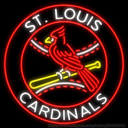 """Wholesale Red Bird Games - Red Bird St. Louiss Cardinalss Baseball Neon Sign Handmade Custom Real Glass Tube Sport Games Display Neon Signs 24""""X24"""" Sales Promotion"""