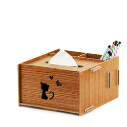 Wholesale Office Environmental - Wholesale-Office desktop creative environmental wood multifunctional pumping paper box pen holder