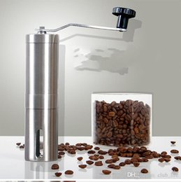 Wholesale Portable Milling - Coffee Grinder Bean Mills Manual Stainless Steel Portable Kitchen Grinding Tools Perfumery Cafe Bar Handmade OEM With Box Free DHL