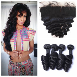 Wholesale Unprocessed Malaysian Frontal Closure - Malaysian Loose Wave lace frontal closure with 4 bundles unprocessed human hair weaves with closure G-EASY