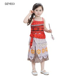 Wholesale Top Frocks - Moana Baby Girl Cosplay Dresses Clothes Christmas Carnaval Costume Children Sling Print Top+Skirts Sets Kid Cartoon Frock Clothes