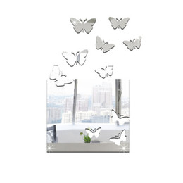 Wholesale 3d mirror butterflies - Dimensional decorative wall stickers living room wall stickers mirror big box butterfly new 2016 European and American fashion