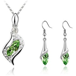 Wholesale Long Swarovski Necklace - Fashion Wedding Jewelry Set Necklace Earrings Made with Swarovski Elements Female Crystal Necklace Pendants Long Drop Earrings Jewelry 2812