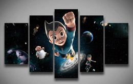 Wholesale Christmas Oil Pictures - unframed Printed Cartoon Astro Boy painting 5 panels  set for wall children's room home decoration Canvas Print art Christmas gi