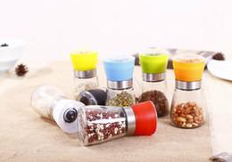 Wholesale Pepper Pots - Salt and Pepper Grinder Mill Glass Muller Hand Mill Manual Grinding Tool Grinder bottle Pot Glass Kitchen Tool 100pcs
