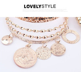 magasins de charme Promotion 2016 New Hollow Pearl Coins Element Avatar Statement Charm Multilayer Bangle and Bracelet Fashion Jewelry Femme - Lady shop