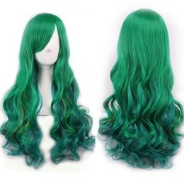 Wholesale Green Wavy Long Synthetic Wig - Gorgeous Harajuku Fluffy Long Wavy Synthetic Women's Cosplay Wig Hair