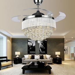 Wholesale Lamp Modern Remote Control - Led Ceiling Fans Light 110-240V Invisible Blades Ceiling Fans Modern Fan Lamp Living Room Bedroom Chandeliers Ceiling Light Pendant Lamp