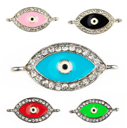 Wholesale Hamsa Eye Evil Bracelet Connector - Fashion New Multicolored Crystal Rhinestones Hamsa Evil Eye Beaded Connectors Charms For Bracelets DIY Jewelry Making