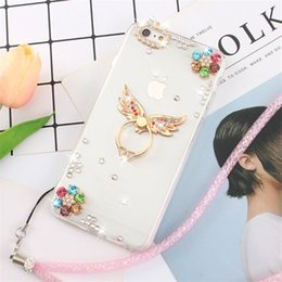 Wholesale Iphone Golden Cover - Luxury diamond phone case for iphone x 8 plus case with golden flower Owl ring stick for iphone 7 plus 6 plus cover