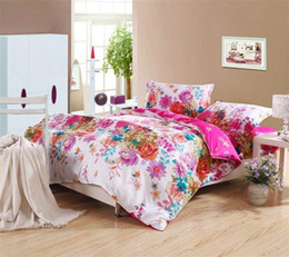 Wholesale Magenta Bedding Sets Flowers - magenta peony flower prints 100% cotton home textile full queen girl's bedding set with quilt duvet cover sets 4pc for comforter