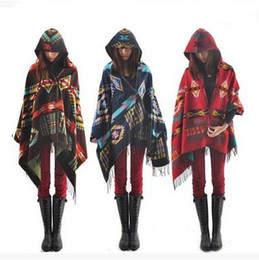 Wholesale Quality Poncho - Bohemian Style Women's Hooded Cloak Shawls Winter Thick Tassel Shawls Horns Button Contrast Color Hooded Shawls Good Quality