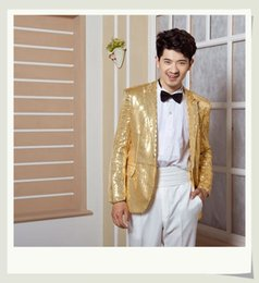 Wholesale Sequin Tuxedo Jacket Men - Wholesale-Shiny Men's clothing stage costumes evening tuxedo suit jacket singers dance suit male master Sequins Dresses Stage Costumes