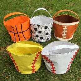 Wholesale Football Candy - Wholesale Blanks 2016 Sports Halloween Buckets Baseball Softball Football Soccer Basketball Tote Bag Candy Bag DOM103349