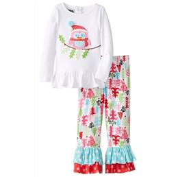 Wholesale Girl Santa Suit - 2016 Christmas Girls Childrens Clothing Sets Cartoon Santa Claus Xmas tshirts Pants Set Cotton Spring Autumn Girl Kids Clothes Suits