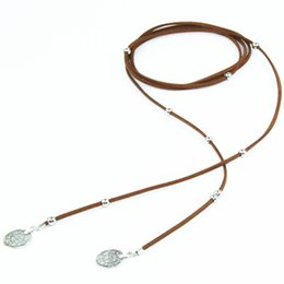 Wholesale 14k Gold Coin Pendant - Wholesale- New Bohemian Gothic Leather Metallic Coin bead Pendant Charms Long Choker Necklace Torques Women Collar Jewelry X261