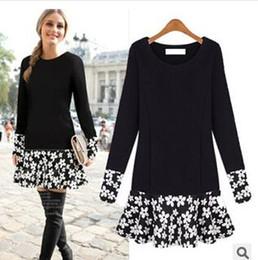Wholesale Basic Cotton Long Dress - Plus Size Long Sleeve O Neck Floral patchwork Women's Dress 2015 Autumn Winter Basic Dresses 4XL 3XL 2XL XXXXL XXXL XL DM1720