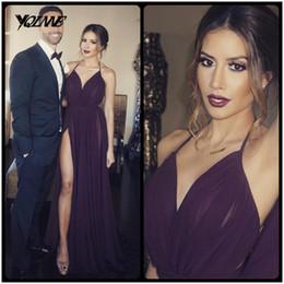 Wholesale Sexy Purple Split Front Dress - Cheap Grape Chiffon Prom Dresses 2017 Halter Pleats Slit Backless Evening Gowns Long Party Dress Vestido De Festa
