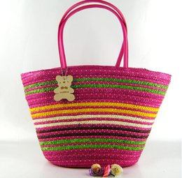Wholesale Wooden Star Beads - Colorblock stripe tote beach bags wooden mini bear straw woven bags lady zipper shoulder handbags beads with cellphone pocket
