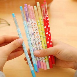 Wholesale Blue Bling Pen - Cute 20pcs lot New Promotion Gift Gel Pen with bling Diamond Crystal Stationery Canetas escolar material School Supplies