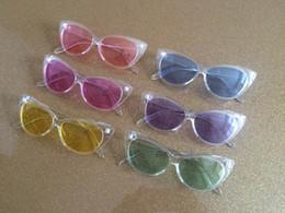 Wholesale Transparent Beach Wrap - Vintage Plastic Cateye frame Sunglasses Transparent Jelly Color Glasses Fashion Women Decoration Men Classic Eyewear 10pcs Lot Free Shipping