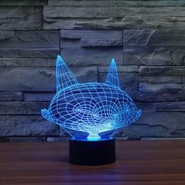 Ночная лиса онлайн-Бесплатная доставка 3d эффект Довольно 3D визуализации мало Fox Shape LED Night Light Красочный Настольная лампа