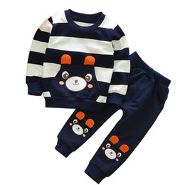 Wholesale Girls Pant Coat Design - Autumn Sets For Baby Boys Girls Cartoon Bear Design Clothing Lovely Children Hoodie Top Coat+ Pant Suits 2PCs Sets