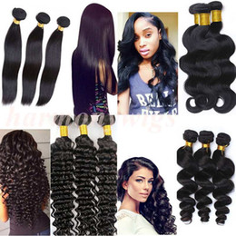 Wholesale Natural Human Hair Virgin European - Virgin Brazilian hair bundles human hair weave body wave wefts 8-34inch Unprocessed Peruvian Malaysian Indian dyeable hair Extensions
