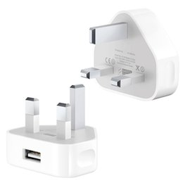 Wholesale Oem Pin - Travel Wall Charger Adapter UK Plug 3 Pin Output Rea 5V 1A Original OEM Quality For iPhone 4S 5 5S 6 6s 7 7 Plus White