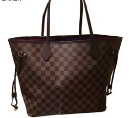 Wholesale Large Spandex - Brand 2018 Women Plaid PU leather Handbags Big Large Totes For Ladies Fashion Quality Check Shoulder Bags New Arrival Bag