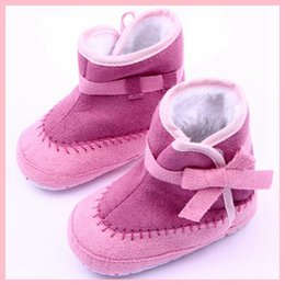 Wholesale Hot Pink Bow Tie - Hot Sale Baby Boots Bow Microsuede Double Color Stitching First Walker Baby Girl Mid-Boots Fuchsia-Pink Colors Anti-slip Sole