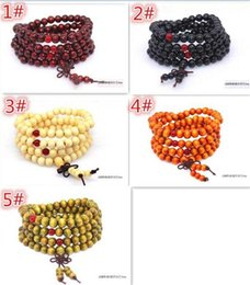 Wholesale Indian Meditation - 150pcs 5 designs Women Men jewelry 108*8mm Natural Sandalwood Buddhist Buddha Meditation 108 beads Wood Prayer Bead Mala Bracelet