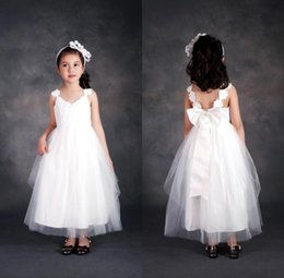 Wholesale Kids White Casual Wedding Dress - Lovely White Tulle Lace Cap Sleeves Flower Girls' Dresses With Bow Ankle Length Long Girls Casual Dresses Cheap Kids Formal Wear MC0202